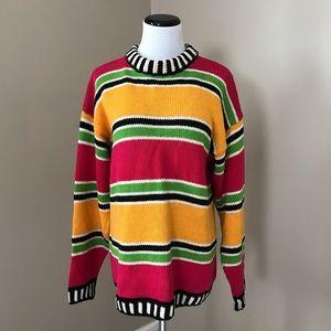 Vintage 90's Bold Striped Mock neck Sweater